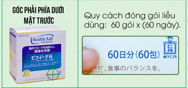 Cách phân biệt men visinh bifina health aid thật giả 01