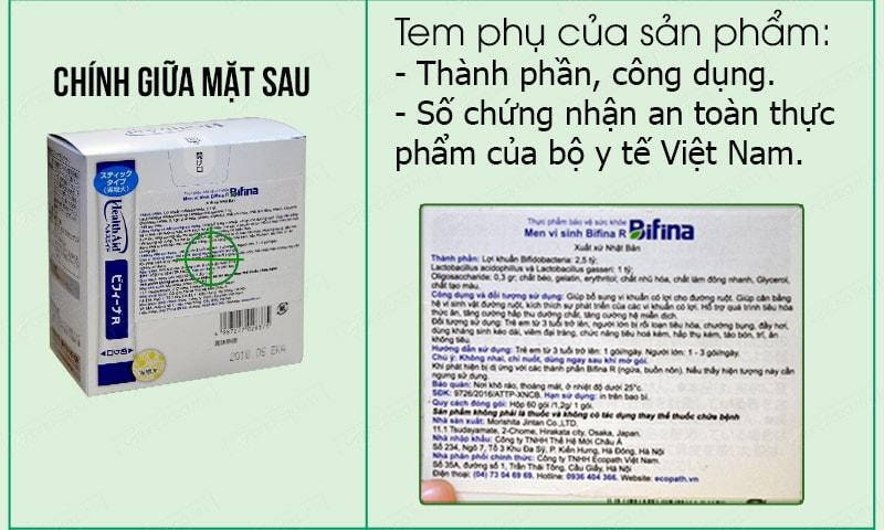 Cách phân biệt men visinh bifina health aid thật giả 03
