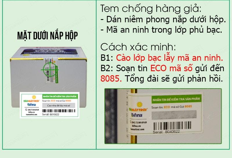Cách phân biệt men visinh bifina health aid thật giả 067