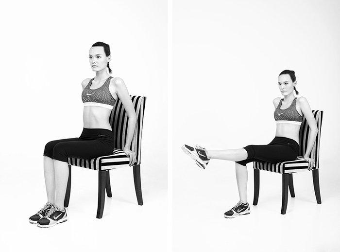 Tập phần chân với ghế để cơ thể hài hòa