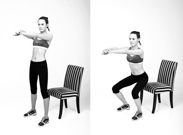 tập Squat với ghế giúp tăng cân